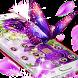 Purple Flowers Butterfly Diamond Theme by Christina_Liang