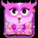 Pink Owl Emoji Keyboard Theme by Best Themes Team