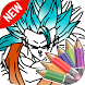 Super Blue Goku Saiyan Paint by super coloring draw craft for kids