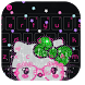 Pink Cute Kitty Bowknot Keyboard Theme by Angela Themes