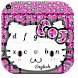 Pink Black Leopard Sweet Kitty Keyboard Theme by Angela Themes