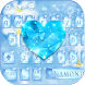 Diamond Blue Keyboard Theme Glitter Flower