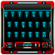 red robot keyboard blue neon by Keyboard Theme Factory