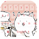 Pink cute kitty keyboard by Neon launcher theme - wallpapers