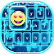 Neon Blue Emoji Keyboard by Thalia Premium Photo Montage
