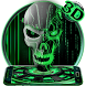 Neon Green tech Skull 3D Theme by stylish android themes