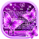 Neon Purple Butterfly Keyboard Theme by Super Cool Keyboard Theme