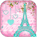 Diamond Eiffel Tower Pink Paris Keyboard by ChickenAnt Themes