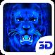 3d Blue Neon Lion Theme