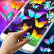 Neon butterflies on screen by 3D HD Moving Live Wallpapers Magic Touch Clocks