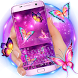 3D Neon Butterfly Keyboard Theme by Super Cool Keyboard Theme