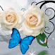 White Rose Butterfly by Launcher phone theme