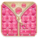 Mincing Pink Zipper Salmon Keyboard Theme by Stylish Android Themes
