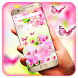 Pink cherry butterfly theme by Hot & Cool Theme