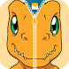Agumon Zipper Lock Screen by Heaven Berry