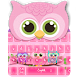 Cute Owl Family pink Theme Keyboard