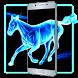 Blue Neon Horse Locker Theme by Luxury App Lock Theme