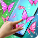 Pink Sparkly Butterflies on Screen by 3D HD Moving Live Wallpapers Magic Touch Clocks