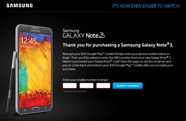 Samsung Galaxy Note 3 U.S. Owners Get FREE $50 Google Play Credits