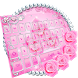 Diamond Pink Rose Keyboard Theme by cool wallpaper