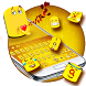 Golden Cute Emoji Keyboard Theme by cool wallpaper
