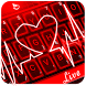 Live 3D Red Neon Heart Keyboard Theme by Fashion Cute Emoji