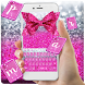 Pink Glitter Bow Keyboard Theme by cool wallpaper