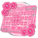 Pink Rose Diamond Keyboard Theme by cool wallpaper