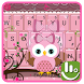 Pink Bow Owl Keyboard Theme by Sexy Free Emoji Keyboard Theme
