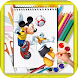 How TO Draw Mickey mouse step by step by kids color