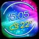 Neon Clock Weather Widget by Super Widgets