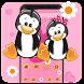 cute pink penguin love theme DIY wallpaper by Rose theme
