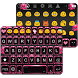 Pink Neon Emoji Keyboard Theme by Colorful Art
