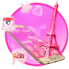 Pink Paris Eiffel Tower Launcher Theme by Luxury Mobile Themes