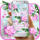 Lovely Pink Orchid Flowers Keyboard