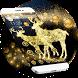 Golden Christmas Elk Theme Bling Star Wallpaper by Beauty theme