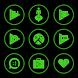 Green On Black Icons By Arjun Arora by Arjun Arora