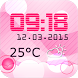 Pink Clock And Weather Widget by The World of Digital Clocks