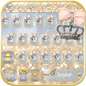 Silver gold Keyboard theme by Locker Themes Center