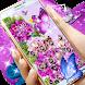 Luxury Purple Butterfly Diamond Flower Theme by Kitty Theme