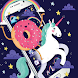 Cartoon Unicorn Theme,Blue Rainbow Donut Wallpaper by Kitty Theme