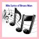 Hits Lyrics of Bruno Mars song by LYRICS Free Song Music