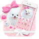 Pink Cute Puppy Dog Pet Bowknot Theme by Beauty Stylish Theme