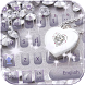 Silver Diamond Heart Keyboard Theme silver glitter by NeoStorm We Heart it Studio
