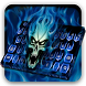 Hell Blue Fire Skull Keyboard by creative 3D Themes
