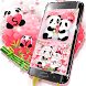Cute Pink Love Panda Keyboard Theme by Hello Keyboard Theme