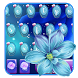 Blue neon flower keyboard by Bestheme keyboard Creator