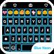 Neon Blue Emoji Keyboard Theme by Emoji Family