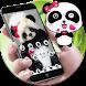 Black Cute Panda Bamboo Theme by Fabulous Theme Wallpapers