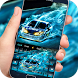 Super blue fire racing keyboard theme by cool theme and wallpapers
